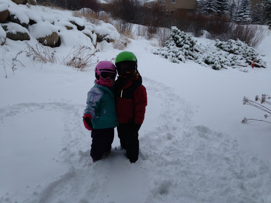Anna and Jude getting ready for ski lesson.