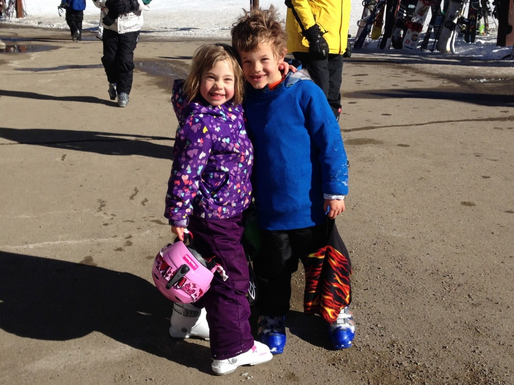 Anna and Jude celebrate after a hard weekend of skiing
