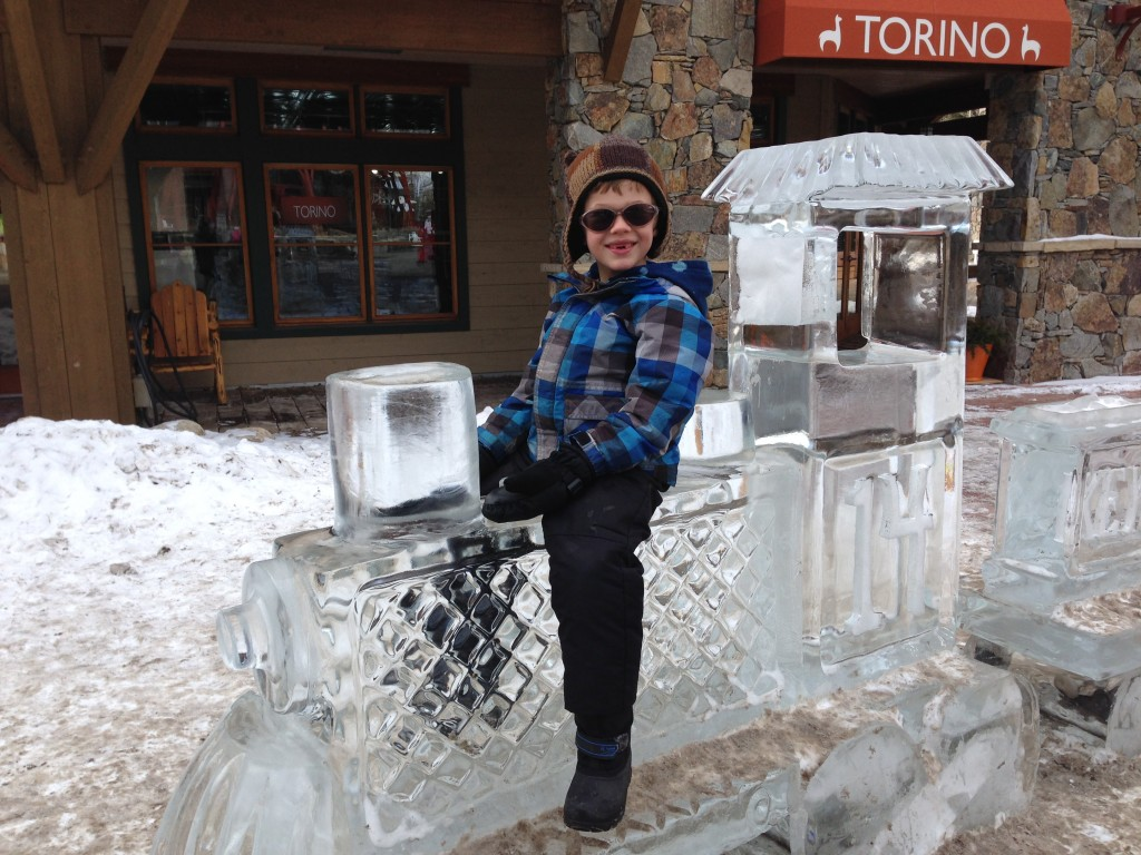 Riding the ice train at River Run, Keystone