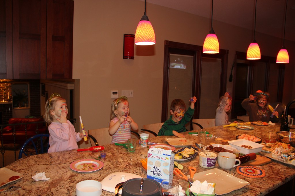 The kids toasting in the New Year at 6pm on December 31.