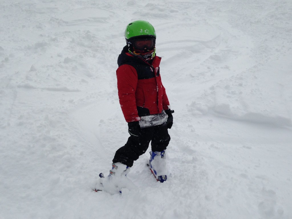 Jude being a trooper skiing down his first ever bump run