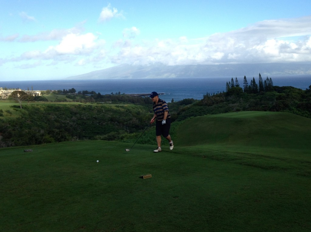 Getting ready to tee off on #5 at the Plantation Course, Kapalua