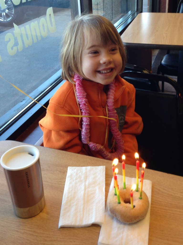 Anna celebrating her five and a half birthday.
