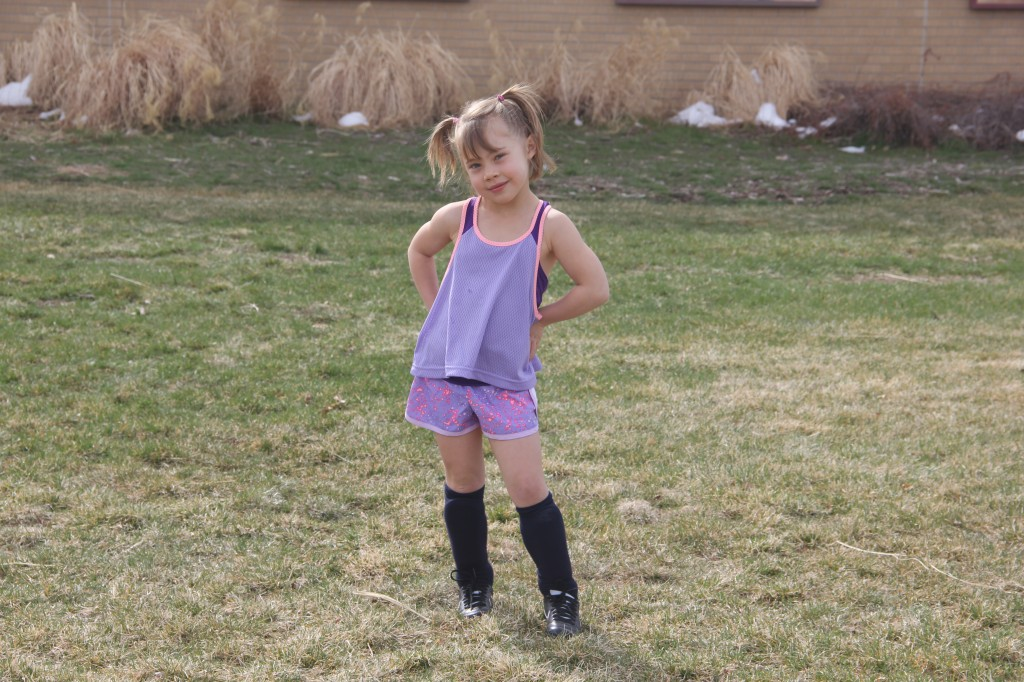 Anna getting ready for her first soccer practice