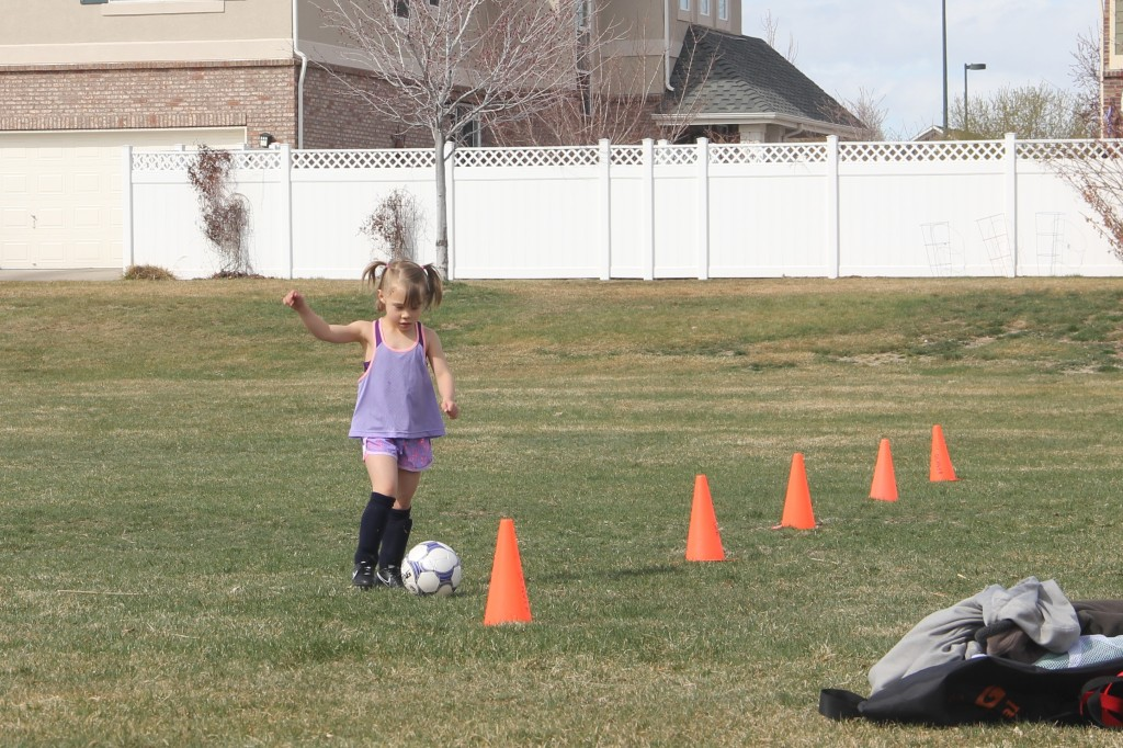 Anna doing drills at her first soccer practice