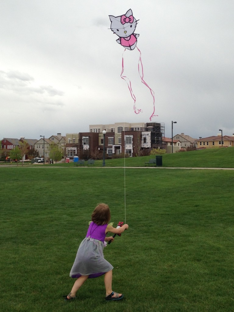 Anna flying her new kite at the park in Stapleton