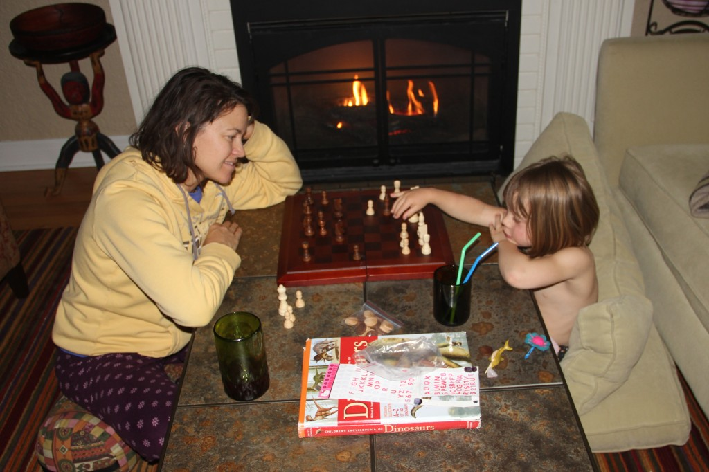 Playing some chess by the fire on a cold and snowy Mother's Day