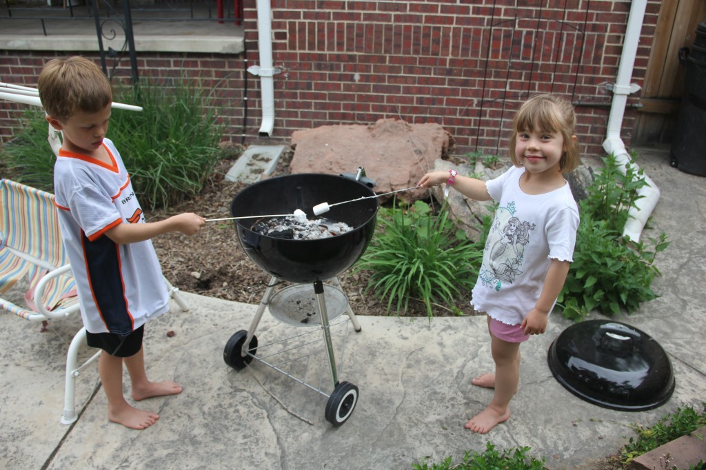 Roasting marshmallows on the grill