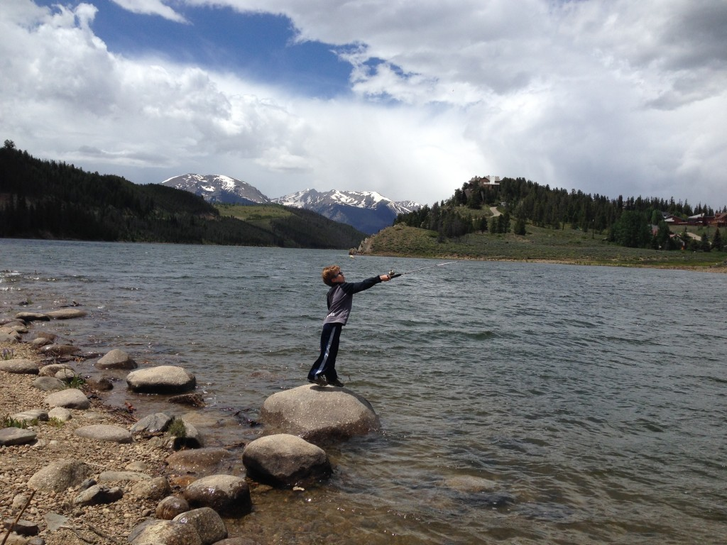 Jude trying his luck fishing in Lake Dillon but the fish weren't biting