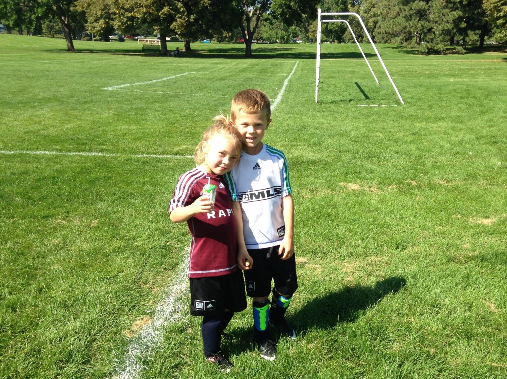 Our two adorable children after their Saturday soccer matches