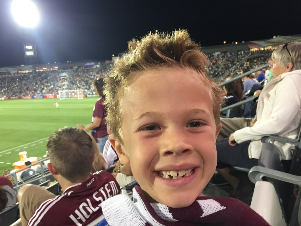 Jude attending his first Colorado Rapids soccer match