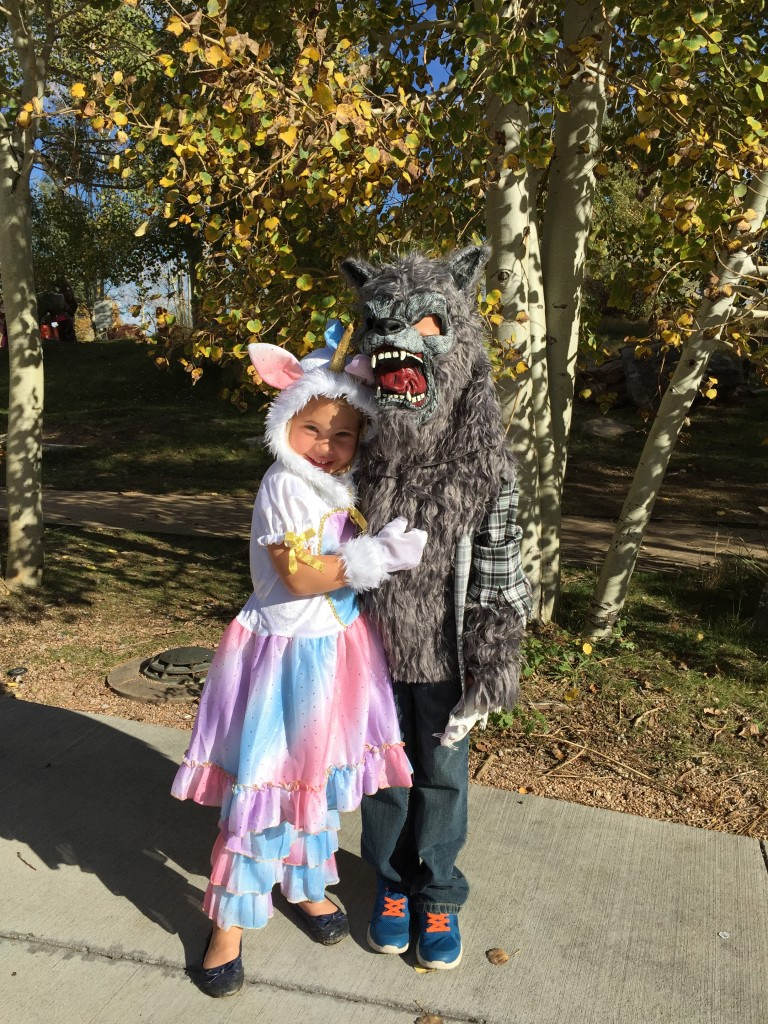 Anna in her unicorn outfit and Jude as a werewolf about to see the second Harry Potter movie