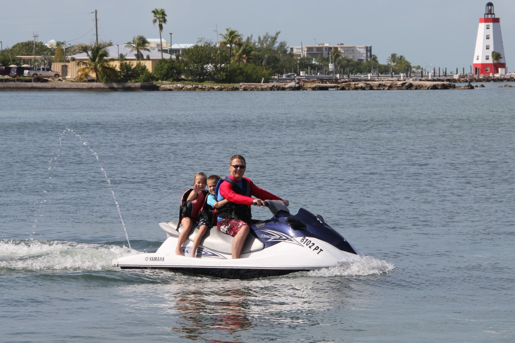 Getting ready to head out for the kids first ever jet ski ride