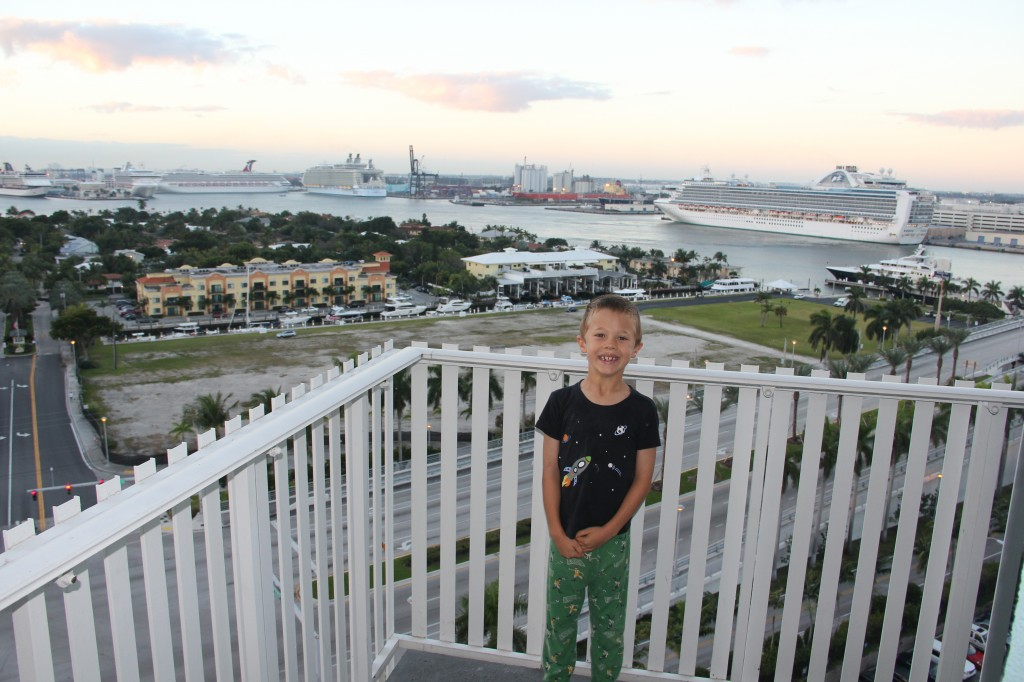 Jude on the balcony of our Fort Lauderdale hotel room
