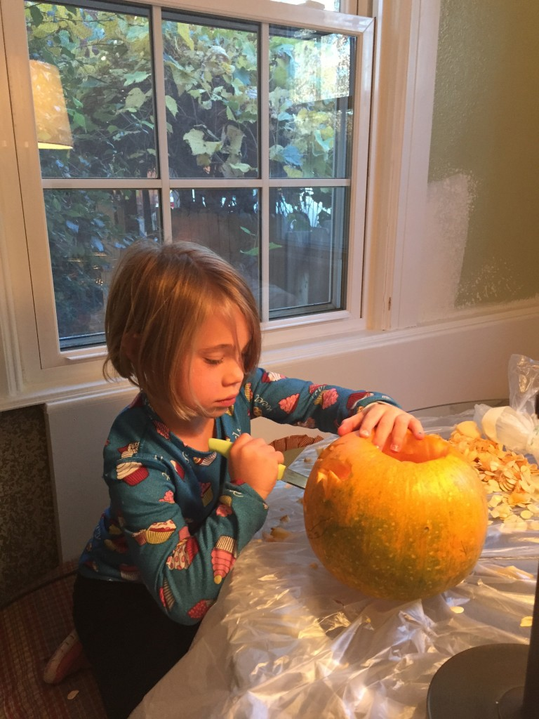 Anna also putting in a serious effort into her pumpkin