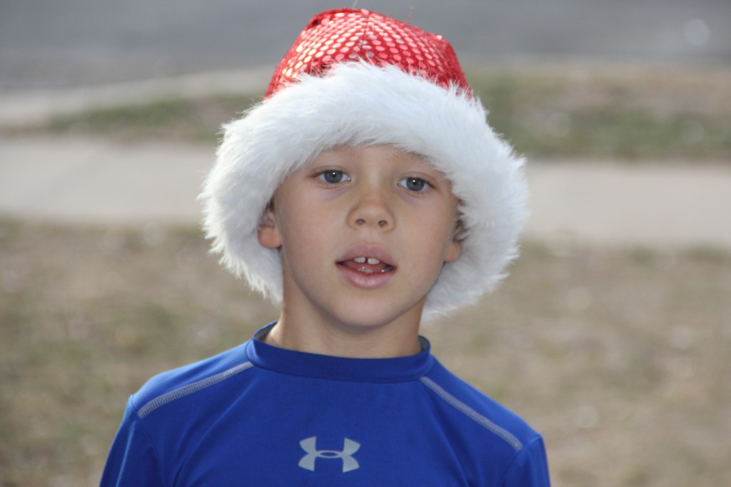Jude with his Santa hat