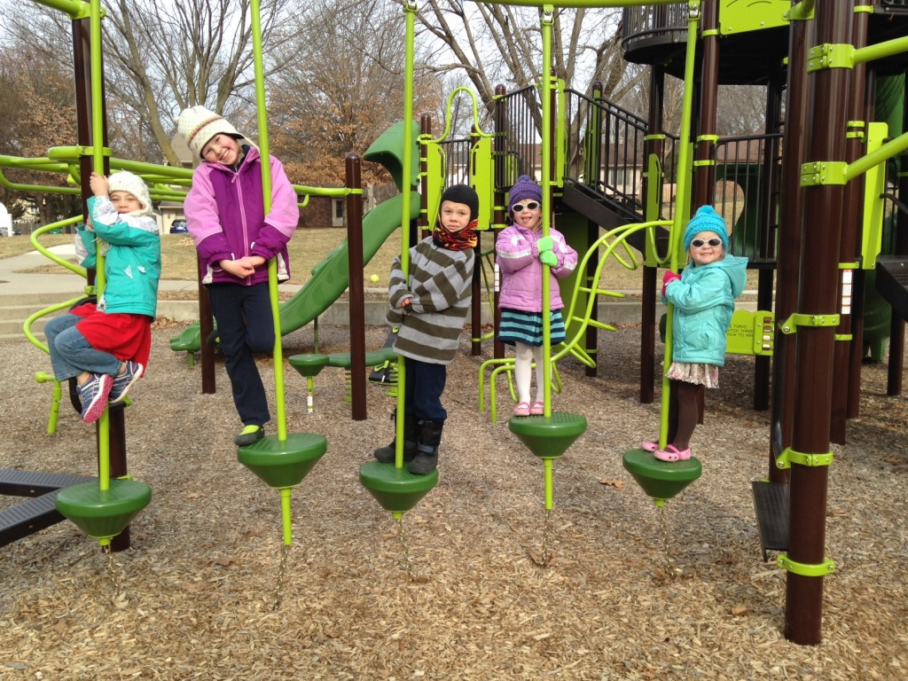 While the weather was a little chilly all five cousins still enjoyed a trip to the playground
