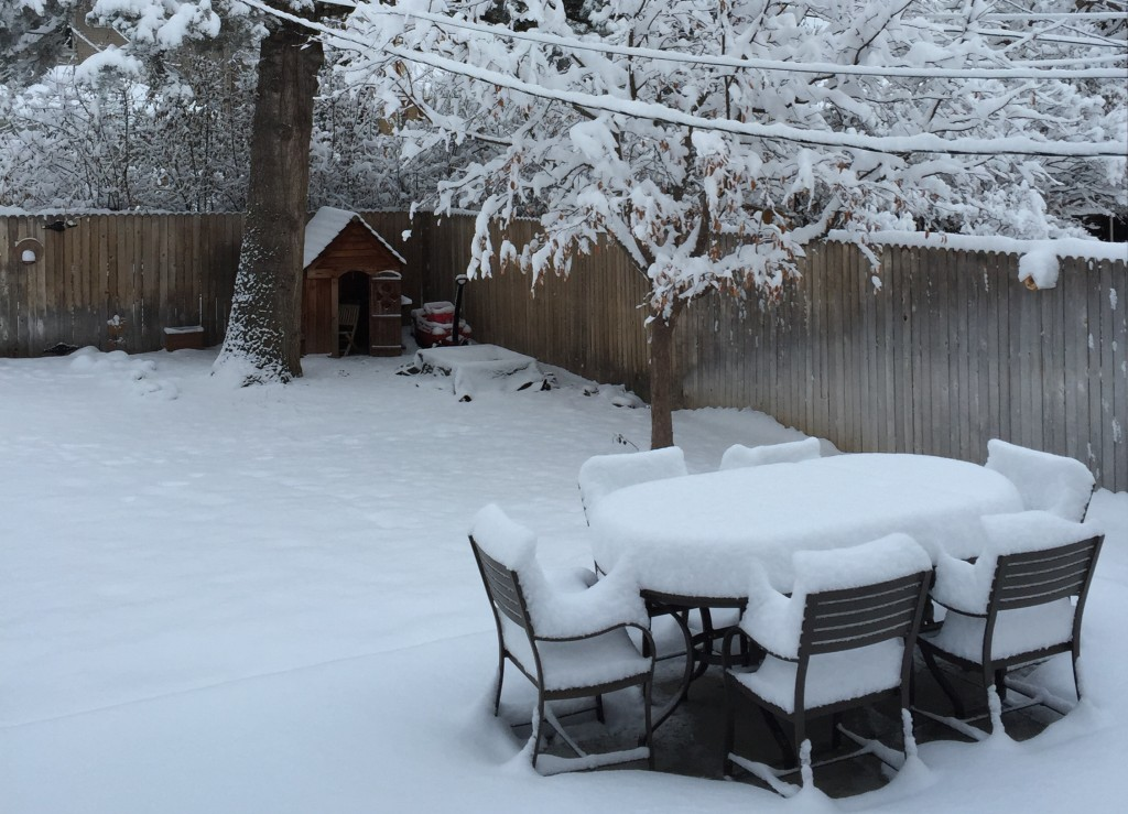 The snow covering our backyard table and chair