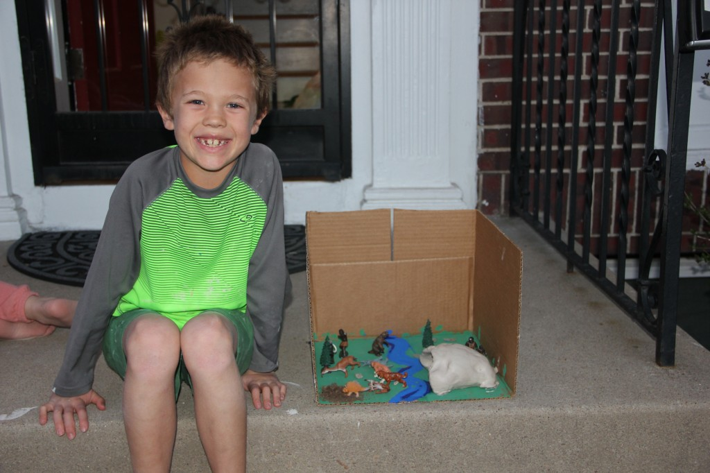 Jude created this diorama from a cardboard box, some paint and some little animal toys