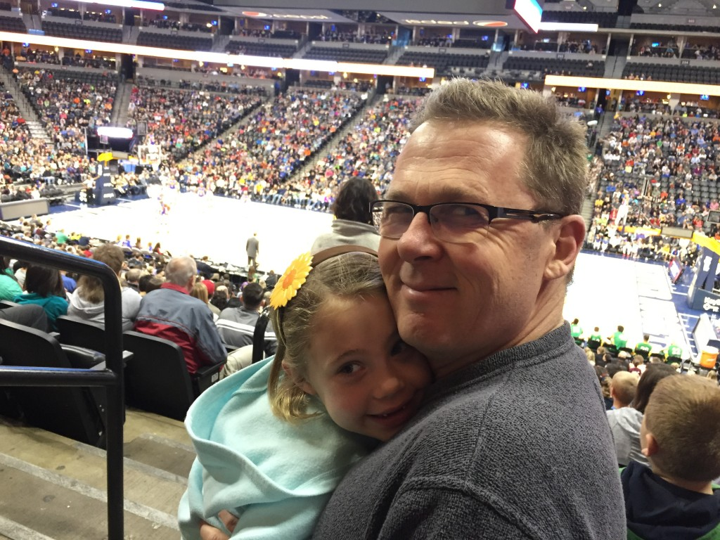 Anna and me at the Harlem Globetrotters at the Pepsi Center