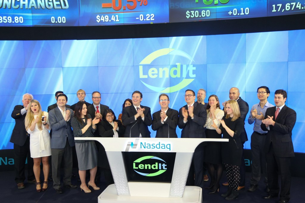 Ringing the opening bell at Nasdaq with the LendIt team