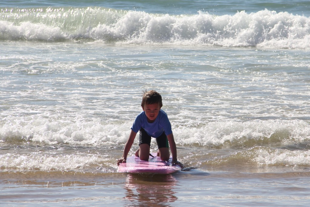 Jude learning how to surf at Manly Beach