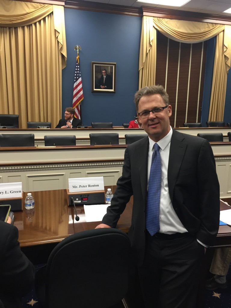 On Capitol Hill about to testify before a Congressional committe