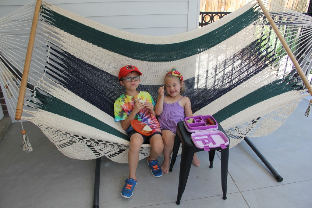Jude and Anna in the hammock on our back porch