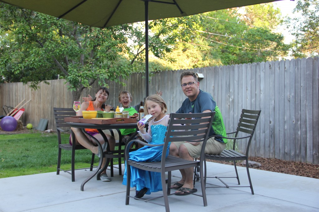 Having dinner outside on Father's Day