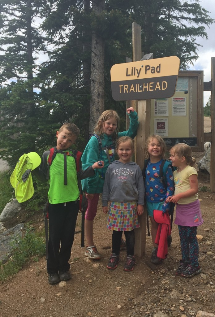 All the cousins are their trek to Lily Pad Lake