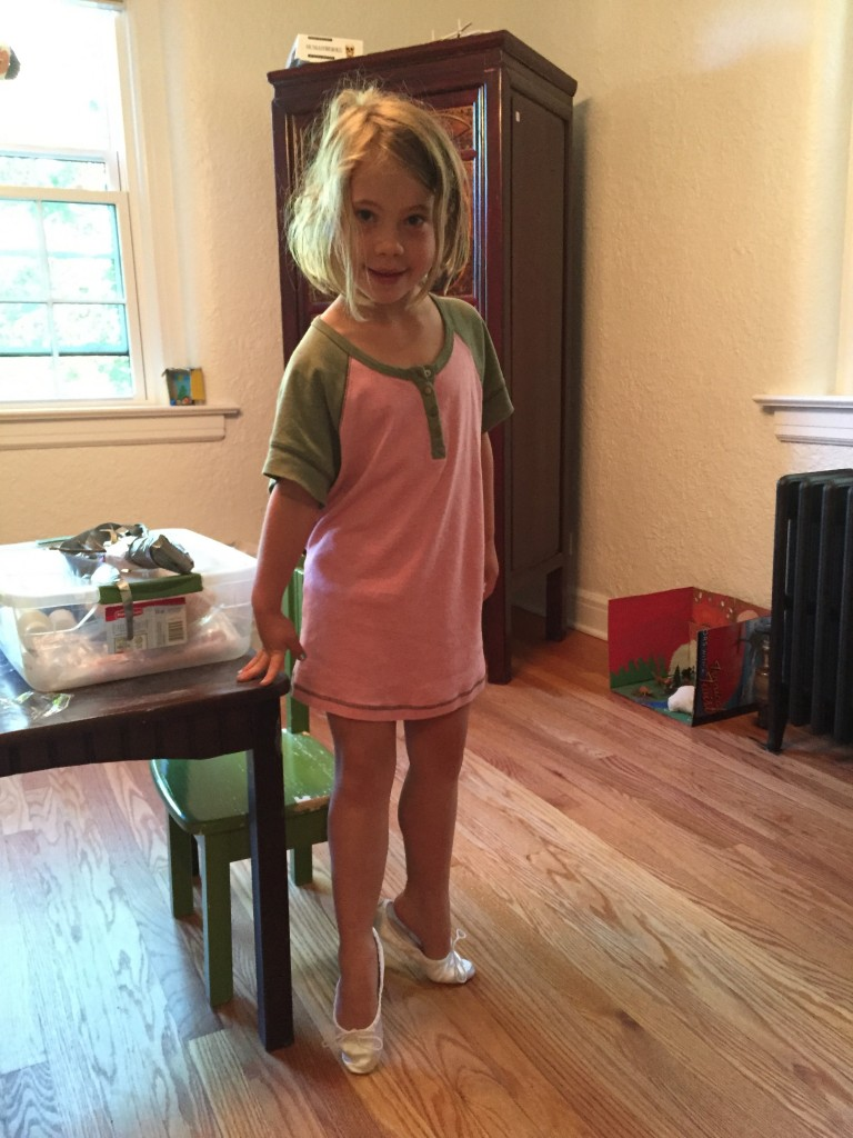 Anna showing off her new ballet shoes