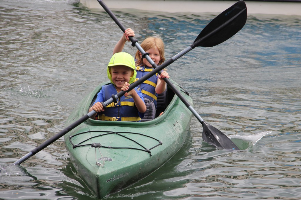 Jude and Lily kayaking at Keystone Lake