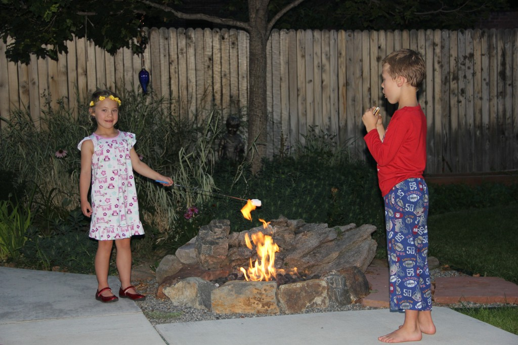 Roasting marshmallows for S'mores over the gas firepit