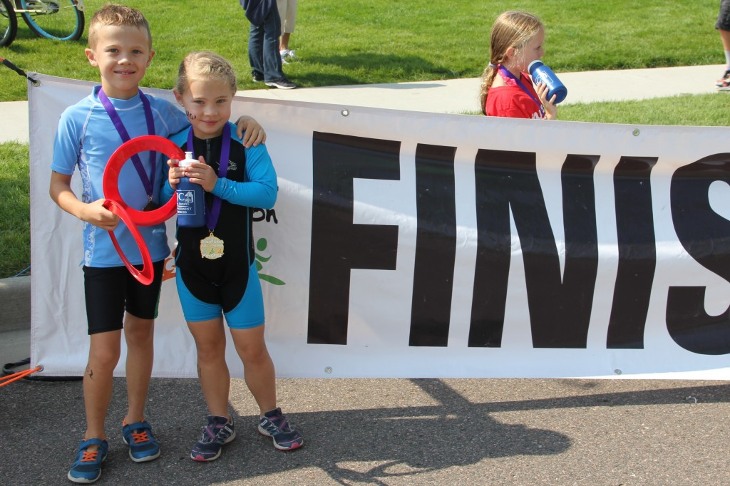 With their medals and gifts after the Stapleton Kids Triathlon