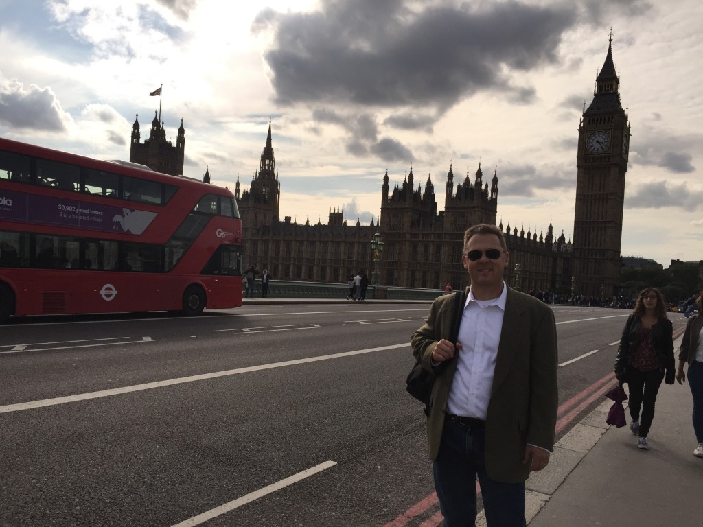 In front of Big Ben and Parliament House in London