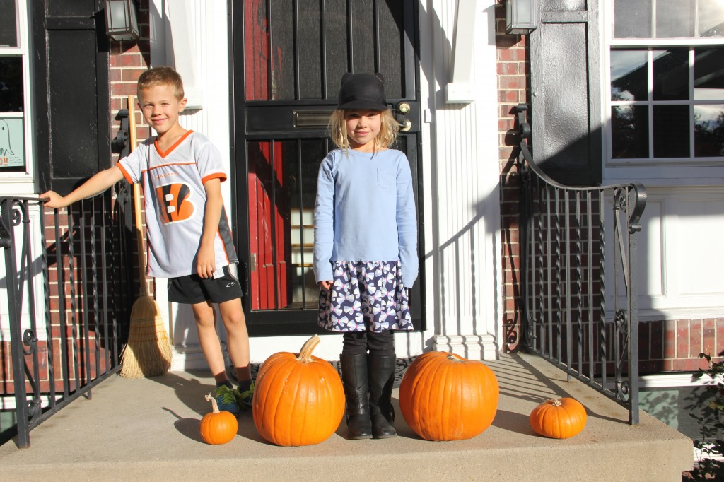 With their new pumpkins fresh from the local pumpkin patch