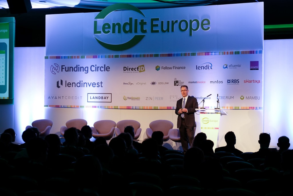 Giving the opening speech at the LendIt Europe conference in London