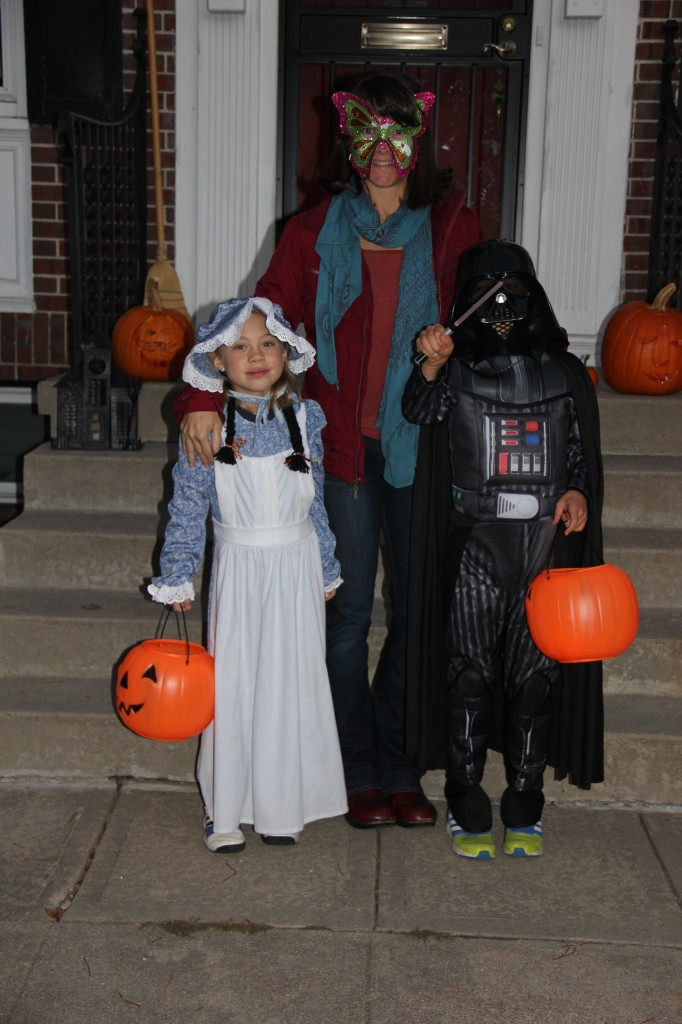 Anna as Laura Ingalls Wilder and Jude as Darth Vader about to go Trick or Treating