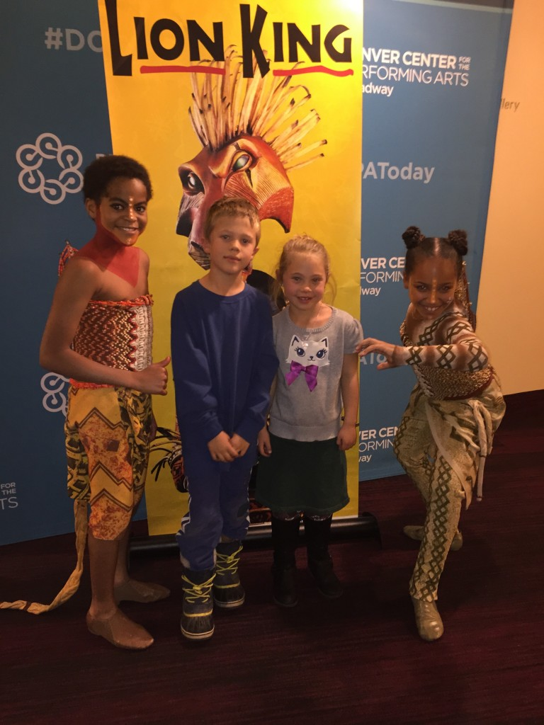 With two young actors of The Lion King musical