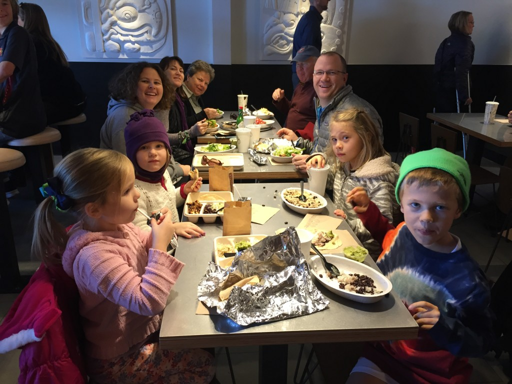 Jude's 9th birthday lunch at the West Des Moines Chipotle