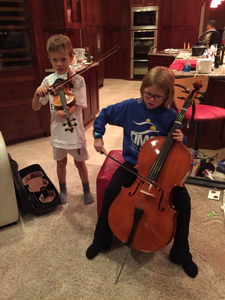 A string duet with Lily (Jude in his Cristiano Ronaldo gear)