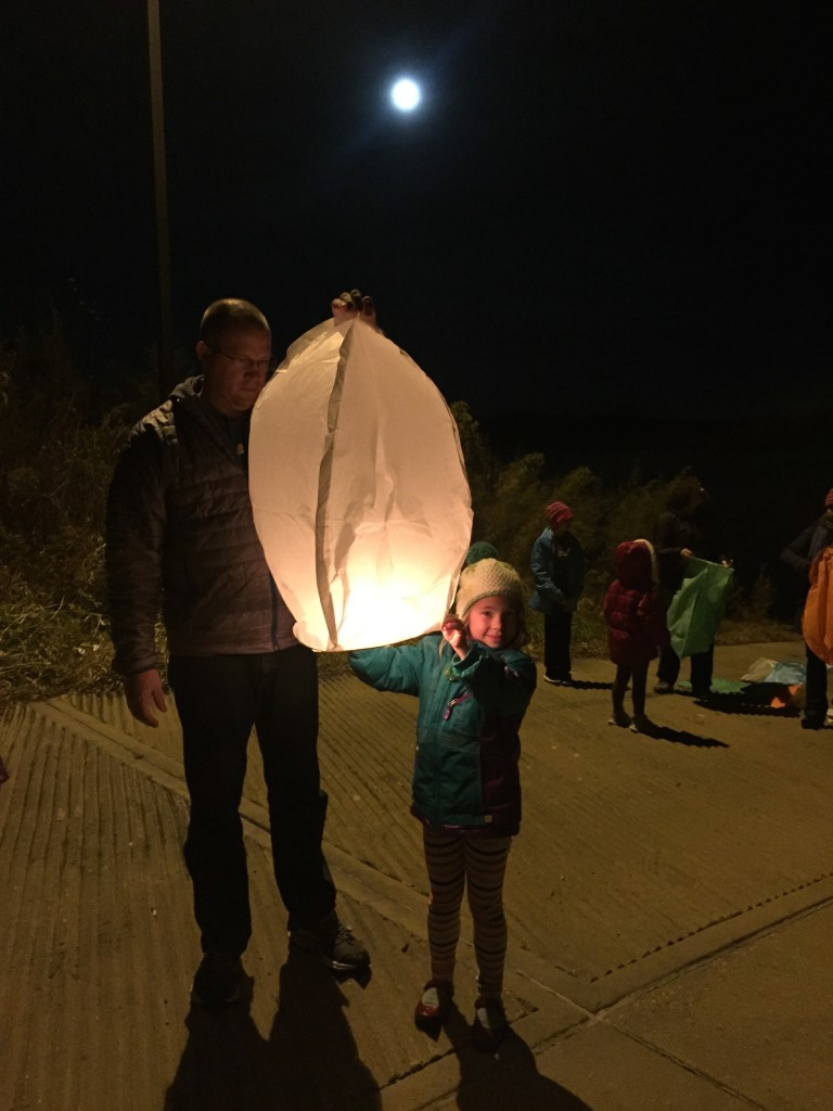 Anna about to let her Chinese lantern fly into the sky