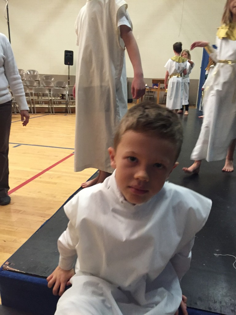 Jude getting ready for the third grade play