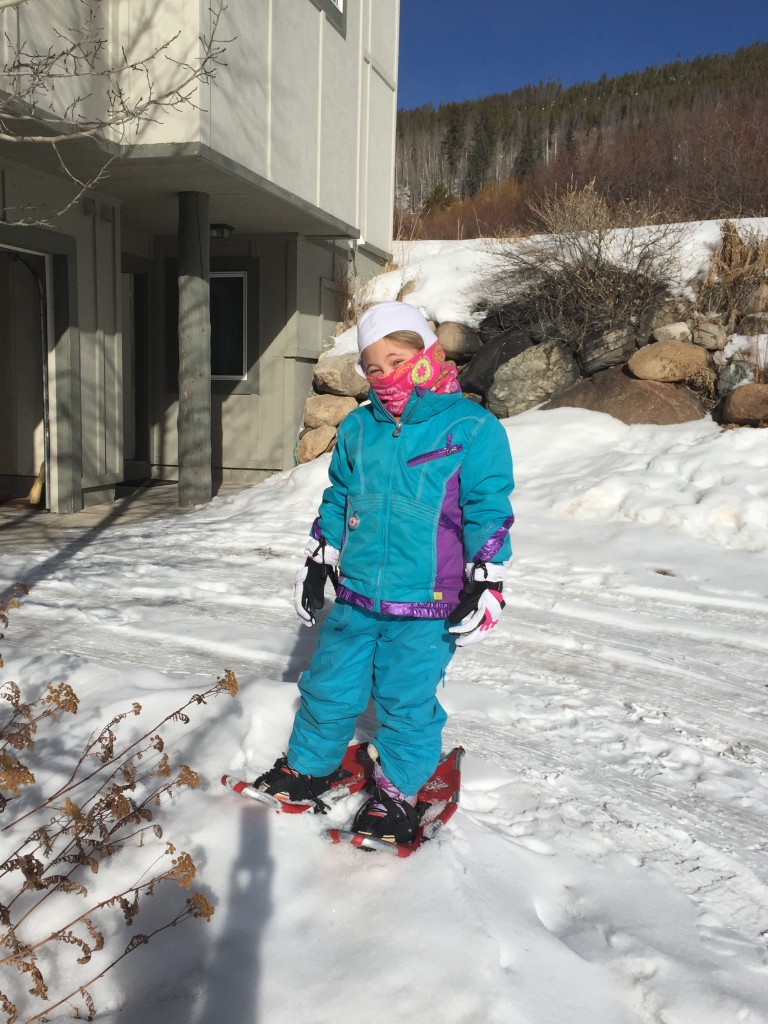 Anna about to do some snowshoeing leaving from our driveway