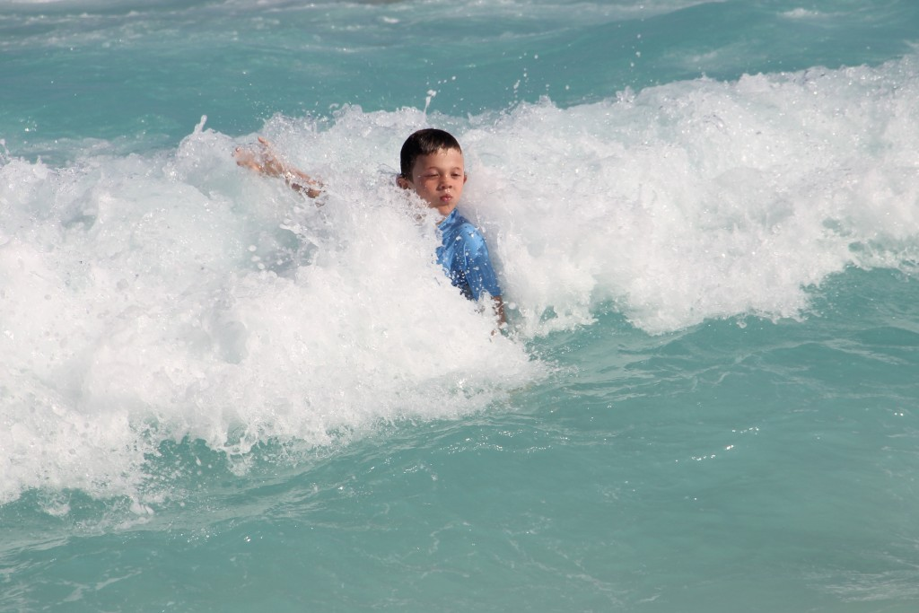 Jude attacking the waves in Cancun