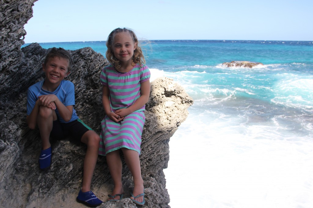 Anna and Jude sitting at the most easterly point in Mexico on Isla Mujeres