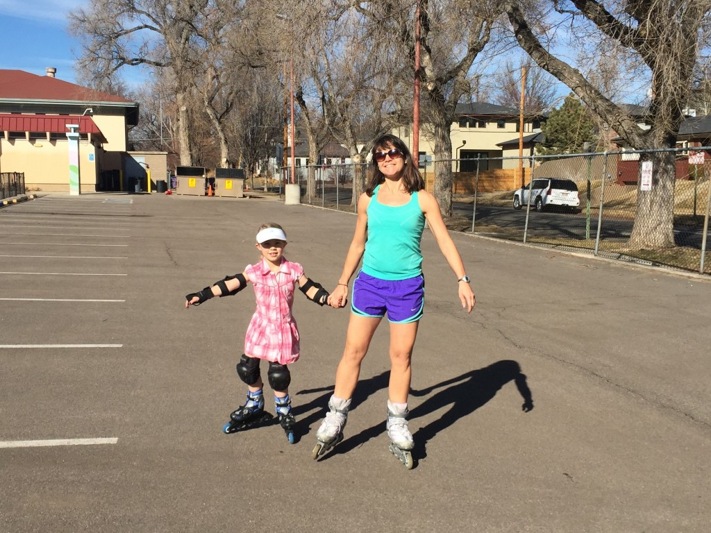 Roller blading to the local park