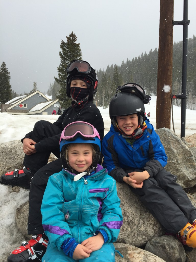 The three kids after their ski day on Saturday