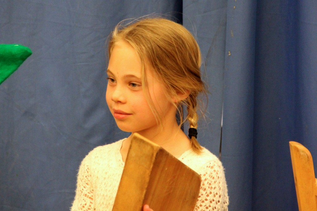 Anna with her lyre at the class play