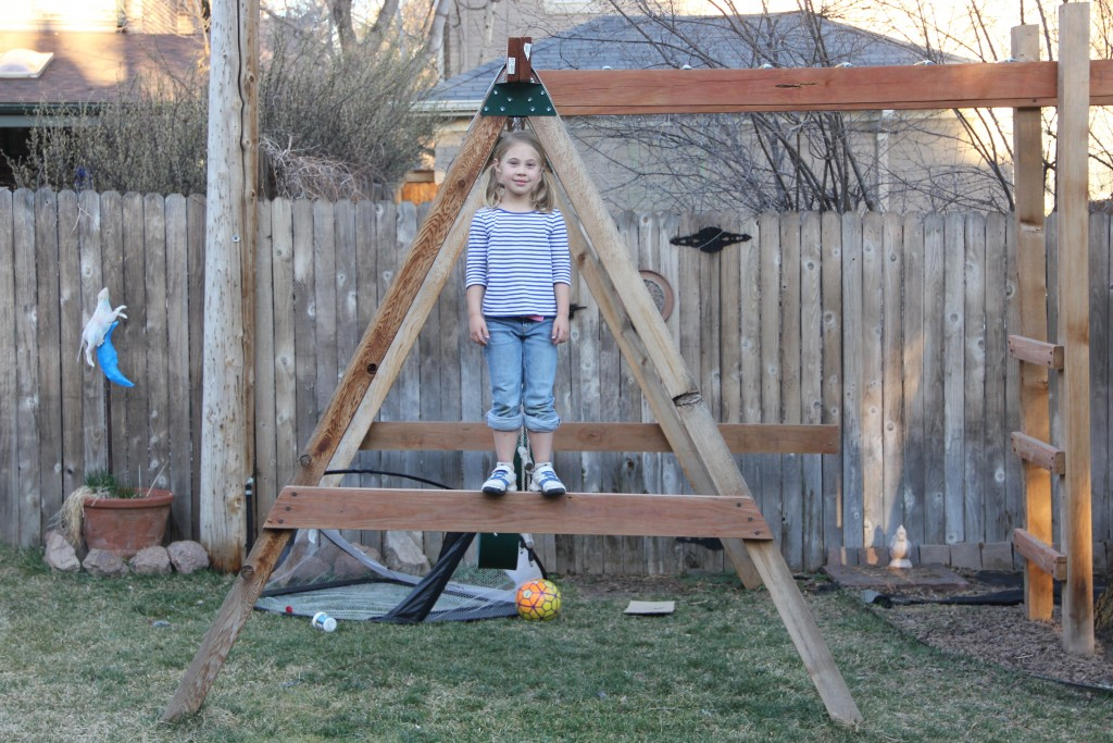 Anna fits perfectly in the A-frame of our swing set